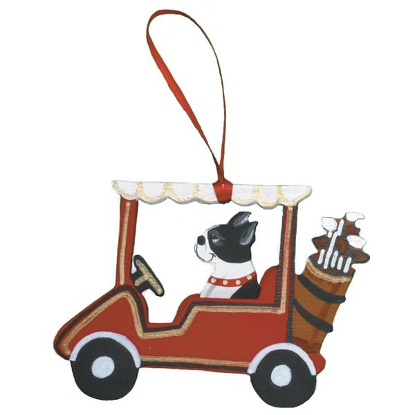 Golf Cart Dog Breed Ornament