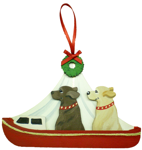 Holiday Red Day Sailor Dog Breed Ornament featuring two dogs