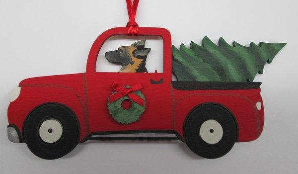 Holiday Red Truck  Dog Breed Ornament