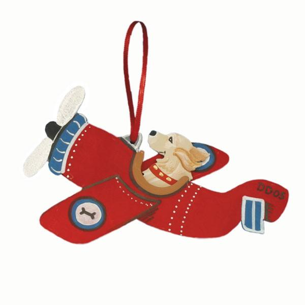 Red Airplane Dog Breed Ornament