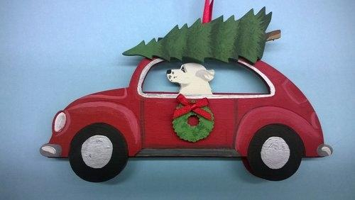 Holiday Houndswagen Car Dog Breed Ornament