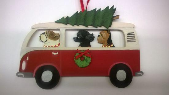 HolidayHoundswagen Bus Dog Breed Ornament  featuring  three dogs