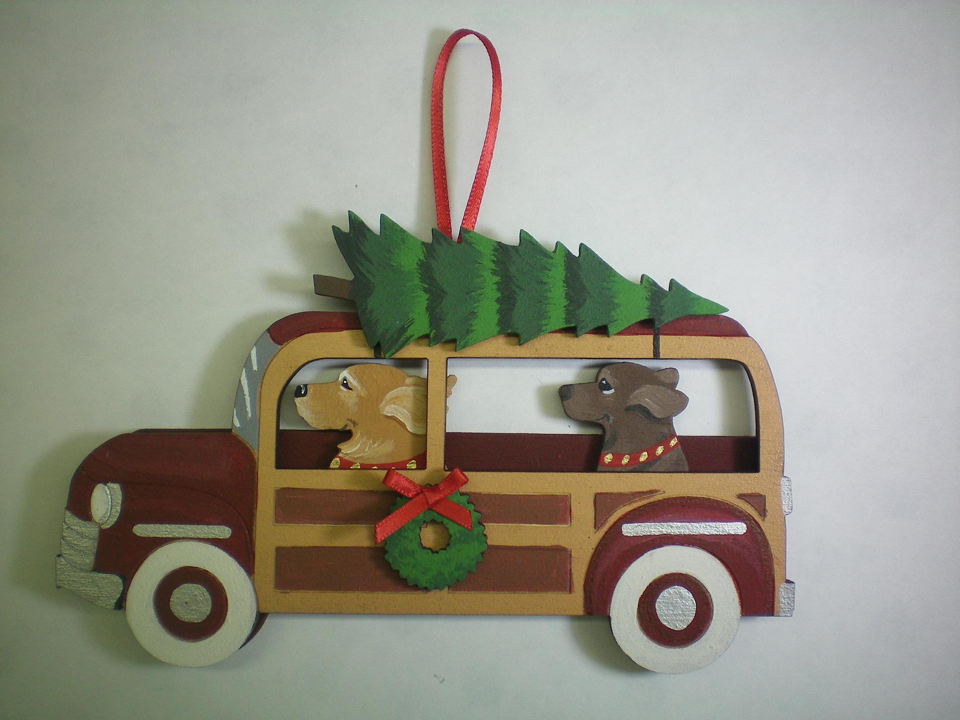 Holiday Dark Red Woody Wagon Dog Breed Ornament featuring two dogs