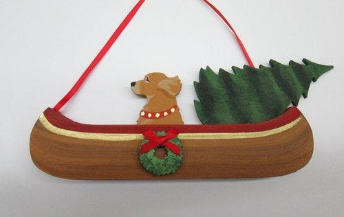 Holiday Canoe Dog On The Move ornament