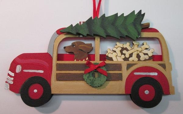 Holiday Red Woody Wagon Dog Breed Ornament. Bushel of Bones