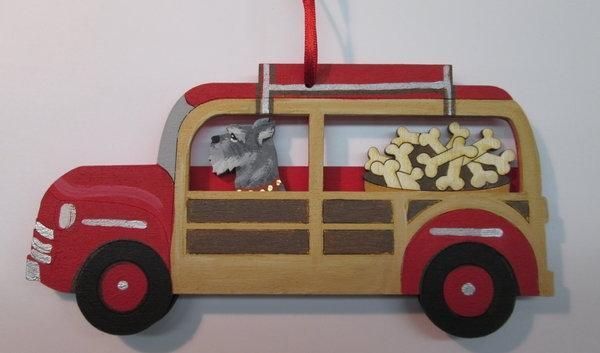 Red Woody Wagon Dog Breed Ornament. Bushel of Bones