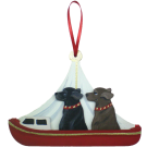 Red Day Sailor Dog Breed Ornament featuring two dogs