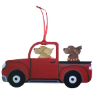 Red Truck Dog Breed Ornament featuring two dogs